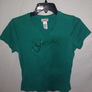 GUESS Green Crop T-Shirt Sz L